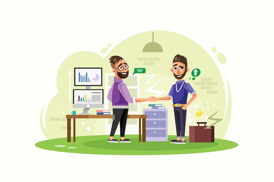 Business Partners Create a Startup Illustration