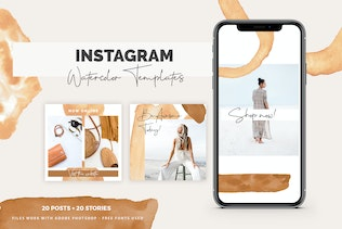 Instagram Watercolor Posts + Stories