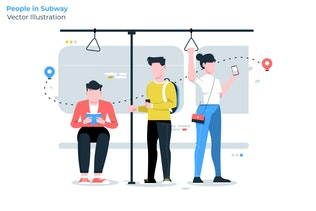 People in Subway - Vector Illustration