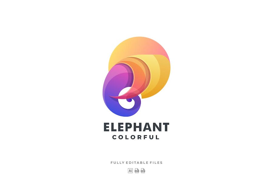 Elephant Head Gradient Colorful Logo