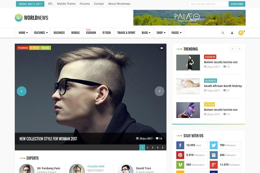 WorldNews - Magazine RTL Responsive WordPress Blog