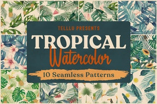Tropical Watercolor Seamless Patterns