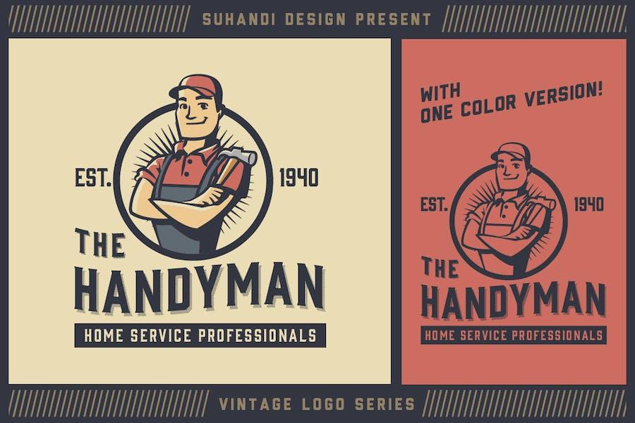 Vintage Handyman Mascot Logo - Vintage Logo Series