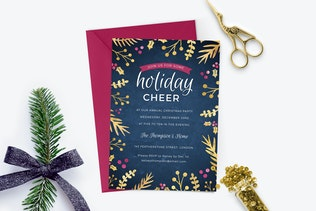 Foil Foliage Christmas Party Invitaiton